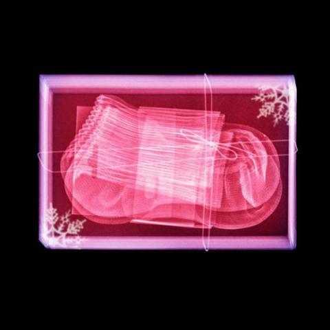 クリスマスプレゼントの包みをX線で透かした写真