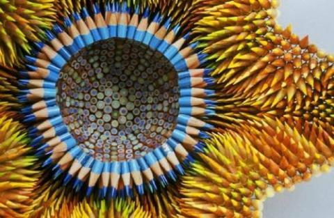鉛筆を大量に利用した「鉛筆アート」写真