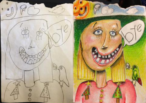 パパ子供の絵に着色したら、アートに仕上がった写真