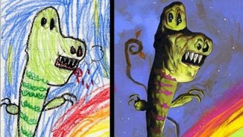 子供の絵を元にプロが描いた、キャラクターたちのイラスト
