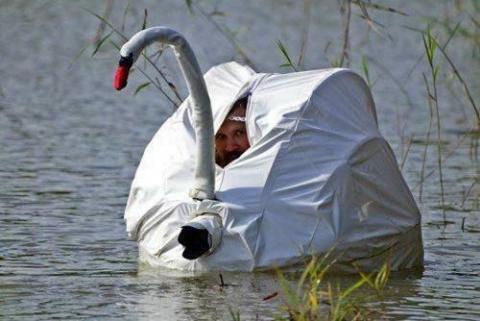 忍者もビックリ!変装で隠れる人々の写真