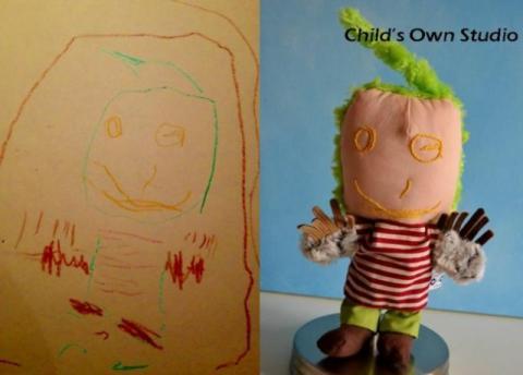 子供の落書きをぬいぐるみにするとかわいい写真